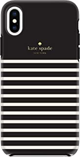 Kate Spade New York Phone Case for Apple iPhone Xs Max Protective Phone Cases with Slim Design Drop Protection and Floral Print, Soft Touch Comold Feeder Stripe Black/Cream/Gold Logo