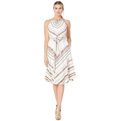 eci Sleeveless Chevron Stripe Fit and Flare Dress with Self Belt (Ivory/Red) Women
