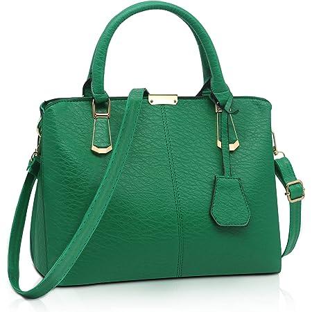 Pahajim handtaschen damen PU Leder Gut Gestaltete Groß Handtaschen Damen Mode Elegant Mhängetasche Damen schultertasche damen Für Arbeit, Reisen und Einkaufen(Grün)
