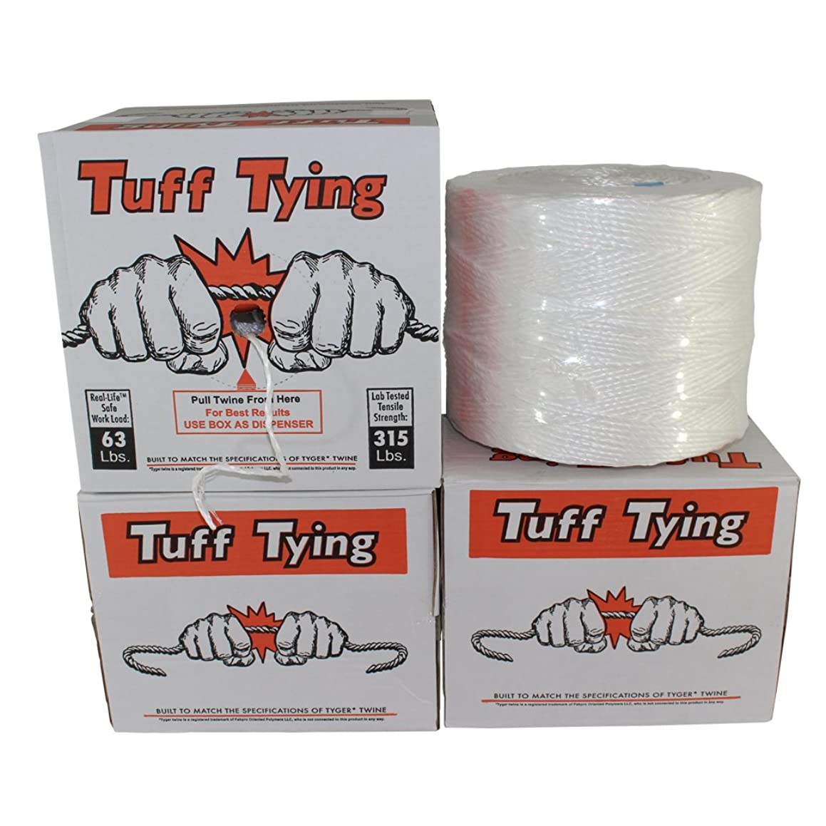 Polypropylene Twine (2 ply - 4200 feet) Tuff Tying Polypro Twine Industrial-Grade - SGT KNOTS - UV, Moisture, Chemical Protection - Commercial Bundling & Packaging - Center-Pull Box Dispenser (White)