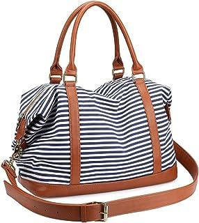 LOSMILE Damen Reisetaschen Handgepäck Canvas Sporttasche Weekender Tasche Carry-on Duffle Bag Frauen Schultertaschen Handtasche Umhängetasche Reisegepäck Reise Taschen Blau