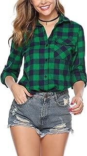 Women's Plaid Flannel Shirt Roll Up Long Sleeve Checkered Cotton Boyfriend Shirt