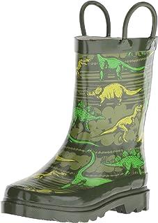 Western Chief Boys' Waterproof Printed Rain Boot, 7/8 M US Toddler, Dino Quest