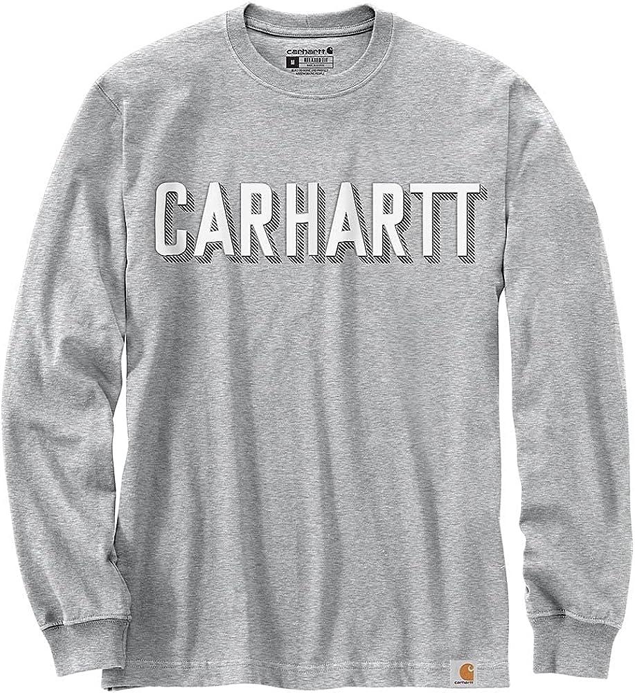 Carhartt Men's 104891 Relaxed Fit Heavyweight Long-Sleeve Block Logo Graphic T