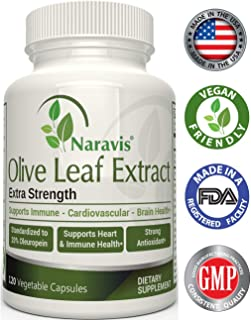 Naravis Olive Leaf Extract - 750mg - 120 Veggie Capsules - 20% Oleuropein - Non-GMO - Immune Support - Cardiovascular Health - Antioxidant Supplement