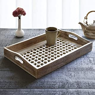 Mother's Day Gift Hand Carved Wooden Breakfast Serving Tray with Handle for Tea Snack Dessert Kitchen Dining Serve-ware Accessories 15 x 10 Inches