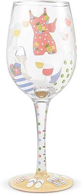 Enesco 6004367 Designs by Lolita Cabana Cutie Hand-Painted Artisan Wine Glass, 15 Ounce, Multicolor