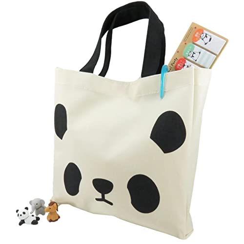 5bfc19d9b609 Daiso Japan Panda Tote Bag Purse and Page Markers Stickers and 3 Puzzle  Mini Erasers (