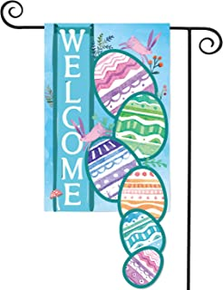 AVOIN Easter Egg Welcome Home Bunny Flower Double Sided Applique Garden Flag, 12.5 x 18 Inch Decorative Spring Summer House Flag for Outdoor Frontdoor Yard Party