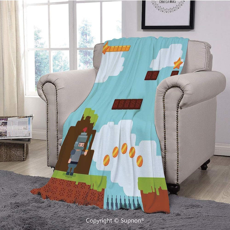 BeeMeng Printing Blanket Coral Plush Super Soft Decorative Throw Blanket,Video Games,Arcade World Kids 90s Fun Theme Knight with Sword Fireball Bonus Stars Coins,Multicolor(59  x 59 )
