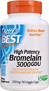 Doctor's Best 3000 GDU Bromelain Proteolytic Digestive Enzymes Supplements, Supports Healthy Digestion, Joint Health, Nutr...