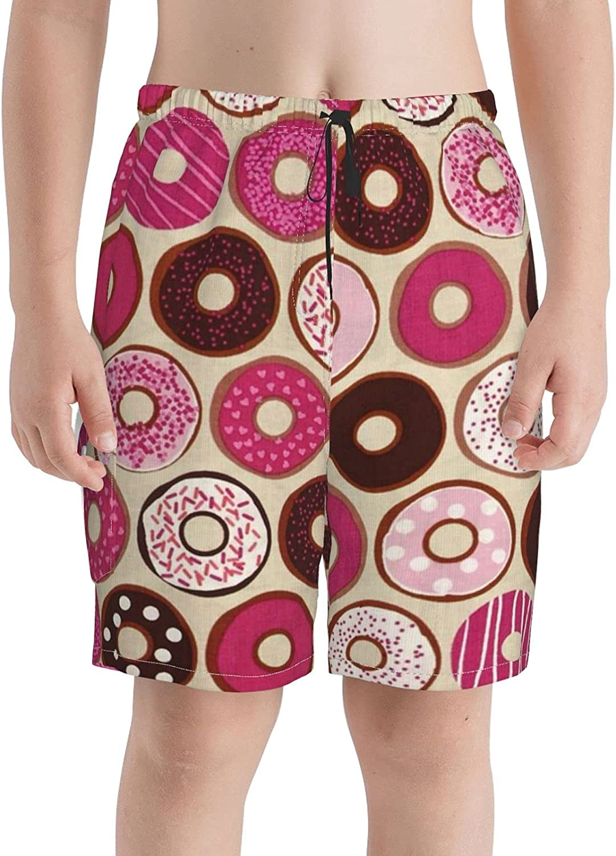 Neddelo Confections Donuts Strawberry Pink Boys Swim Trunks, Teens Beach Boardshorts Swim Shorts