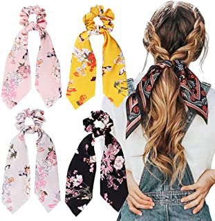 4Pcs Hair Scrunchies Silk Satin Scarf Hair Ties Elastic Hair Bands Ponytail Holder Flower Printed Hair Bobbles Vintage Acc...