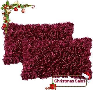 red flower decorative pillows