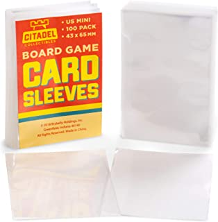 100 Pack US Mini Board Game Sleeves   Clear 43mm x 65 mm Card Portector Pack for American Board Games   Compatible with Popular Board Game and Miniature Game Brands