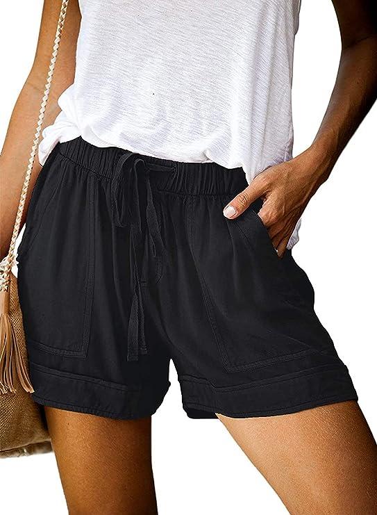 AOMONI Shorts for Women with Pockets Comfy Drawstring Casual Elastic