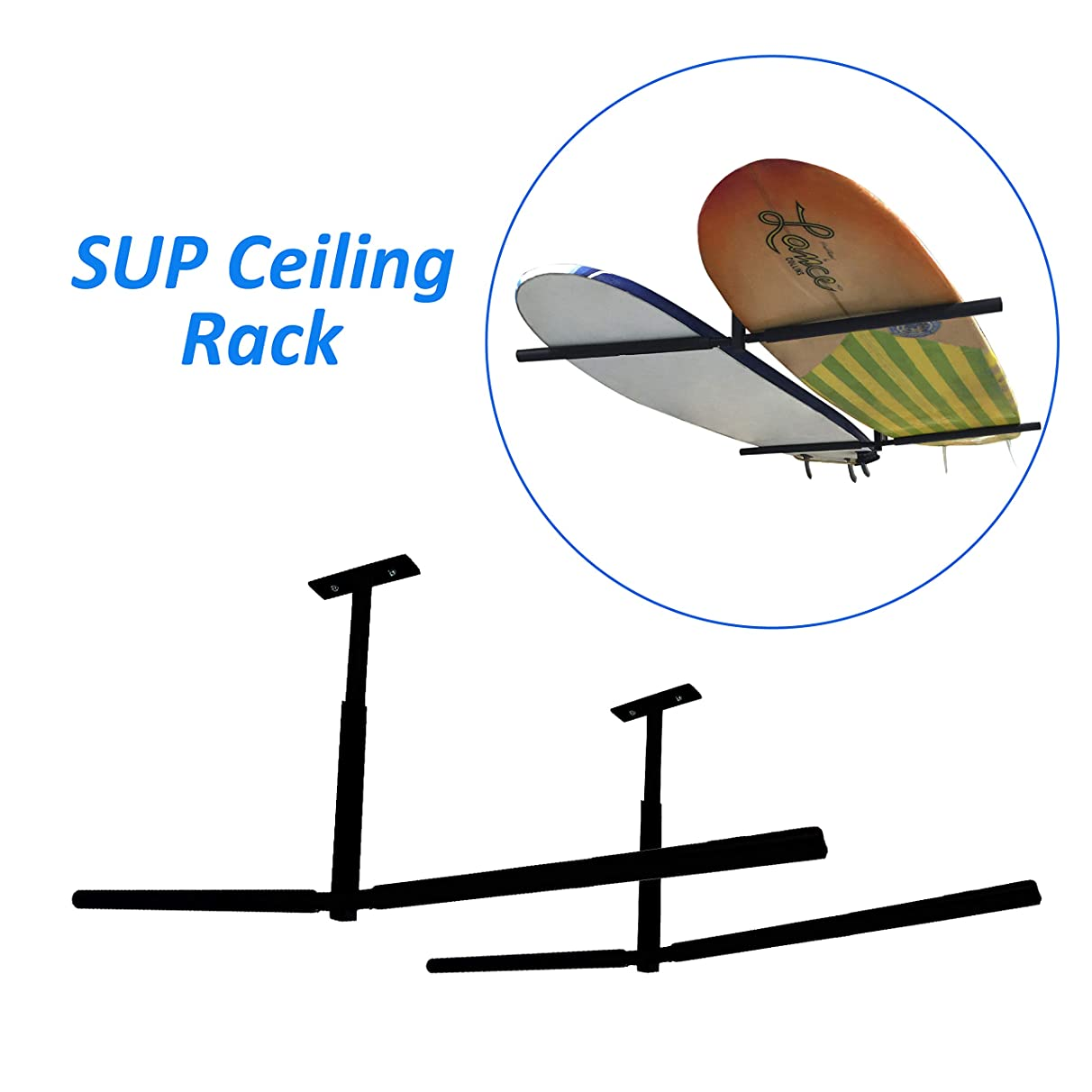 EasyGoProducts EGP-SURF-007 EasyGO SUP Surfboard Overhead Ceiling Mount-for Garage or Room-Paddle Board and Longboard Racks – Double Sided