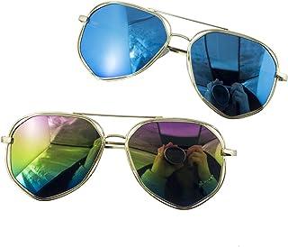 91c67956f4 HAND® 2 Paires de Style Unisexe Angulaire encadré Aviator Style Lunettes de  Soleil - Cadre