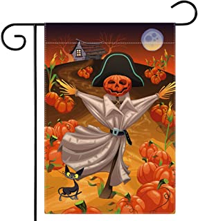 Pumpkin Scarecrow Halloween Garden Flag, Jack O Lantern Black Cat Halloween Flag Double Sided 12.5 x 18 Inch,Dsweesun Fall...