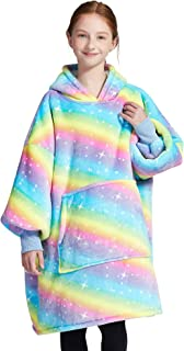 AUTICK Oversized Wearable Blanket for Girls, Rainbow | Extra Long | with Hood and Front Pocket | Super Warm Comfy Blanket ...