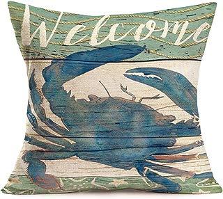 Smilyard Ocean Beach Outdoor Throw Pillow Covers Sea Coastal Theme Pillow Case Retro Wood Grain Background Pillowcase Crab Cotton Linen Decor forPatio Sofa 18x18 Inch,Marine Animals(Crab)