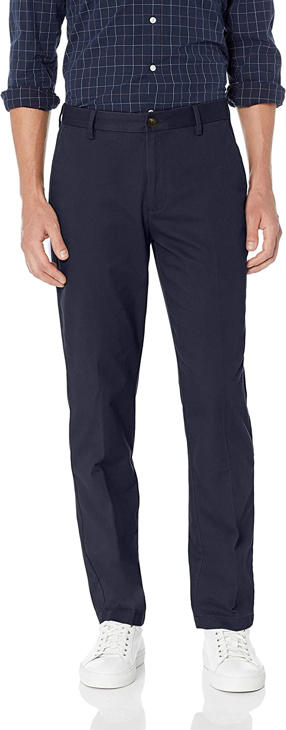 Essentials Mens Straight-fit Wrinkle-Resistant Flat-Front Chino Pant