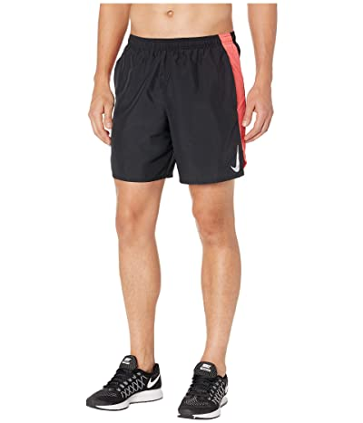 Nike Challenger Shorts 7 BF (Black/Ember Glow/Reflective Silver) Men