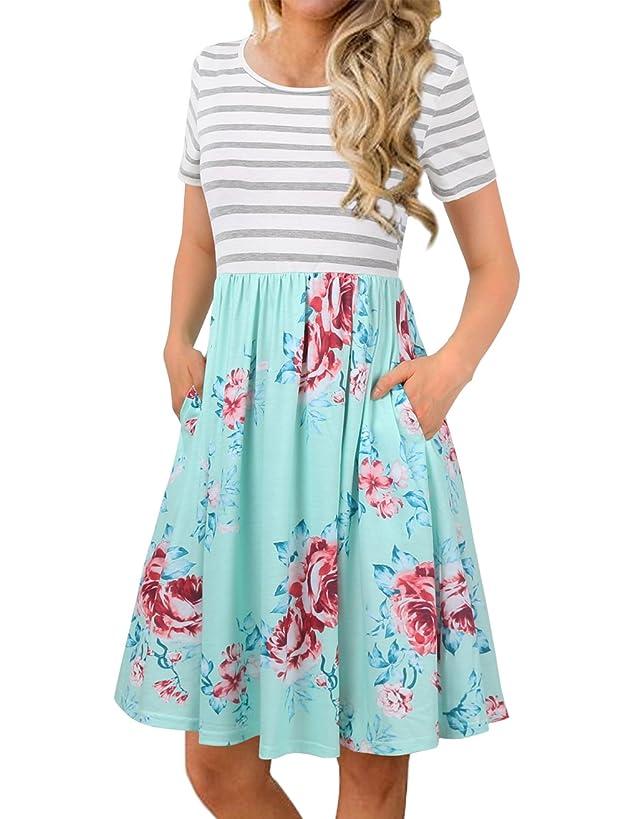FANVOOK Women's Short Sleeve Patchwok Floral Dress Dresses with Pockets