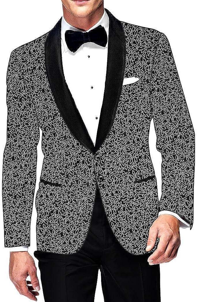 INMONARCH Mens Slim fit Casual Black Cotton Blazer Sport Jacket Coat White Floral Design SB14447
