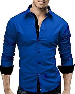 Men's Long Sleeve Slim Fit Shirt Casual Dress Shirts Contrast Color