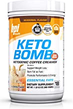 BPI Sports Keto Bomb Ketogenic Creamer for Coffee & Tea with MCT Oil, Saffron & Avocado Oil Powder to Support Weight Loss- All Natural Pumpkin Spice, 18 Servings
