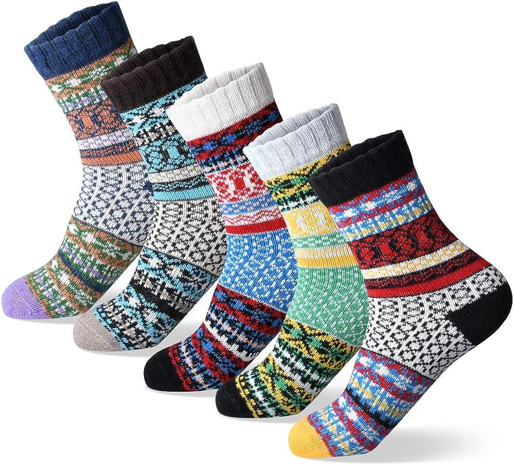 Women Winter Socks Warm Women Socks Thick Soft Wool Socks Christmas Gift Socks for Women Cozy Crew Socks 5 Pairs