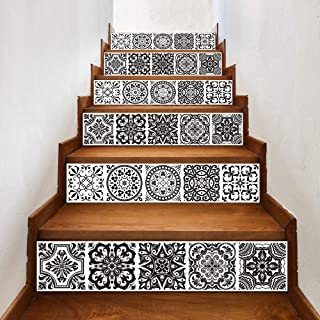 Stair Sticker Decals DIY Tile Decals Mexican Traditional Talavera Waterproof Home Decor Staircase Decal Stair Mural Decals 7''W x 39''L (Set of 6) (LTT-028)