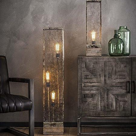 famlights Käthe Lampe sur pied en bois et filet en métal Gris 3 x E27 Design industriel élégant Lampe sur pied salon, chambre à coucher