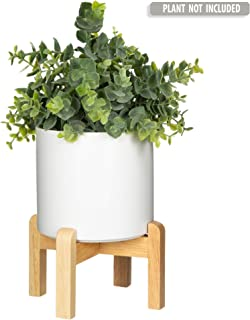 Mid Century Modern Plant Stand with 4.5 Inch Round Pot - The Northern Habitat Wood Table Top Planter - Indoor Matte White Ceramic Pot and Bamboo Pot Holder for Plants - Succulent Pot and Wooden Stand