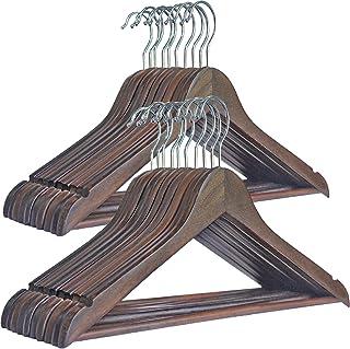DUOFIRE 木製ハンガー 衣類ハンガー 洋服ハンガー 肩部分に凹み付き スーツ・シャツ・コート用 おしゃれ シックな艶消しの茶褐色 20本組セット