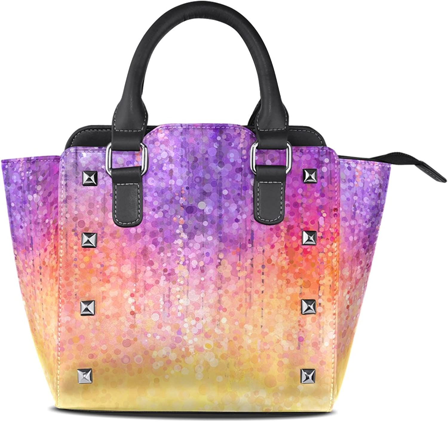 Sunlome Abstract Watercolor Painting Spring Purple Flower Print Handbags Women's PU Leather Top-Handle Shoulder Bags