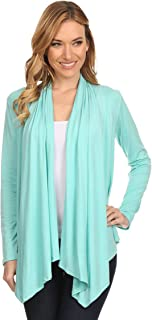Women's Solid Casual Comfy Long Sleeve Drape Open Front Cardigan Jacket/Made in USA