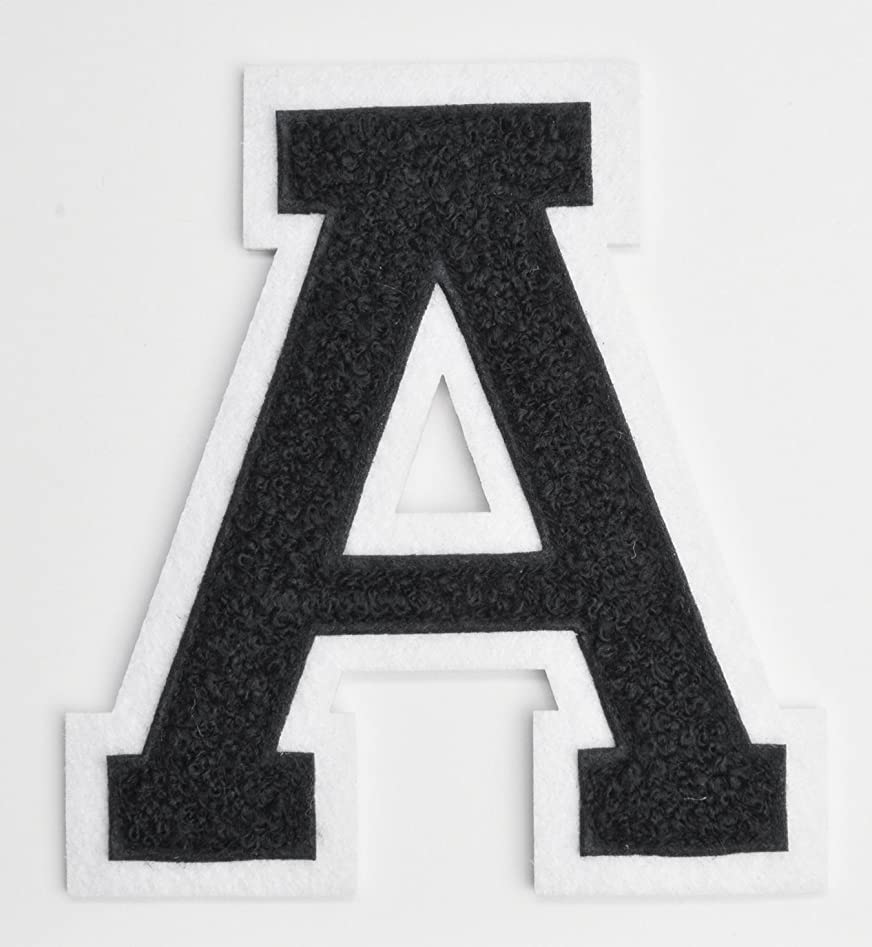Varsity Letter Patches - Black Embroidered Chenille Letterman Patch - 4 1/2 inch Iron-On Letter Initials (Black, Letter A Patch)