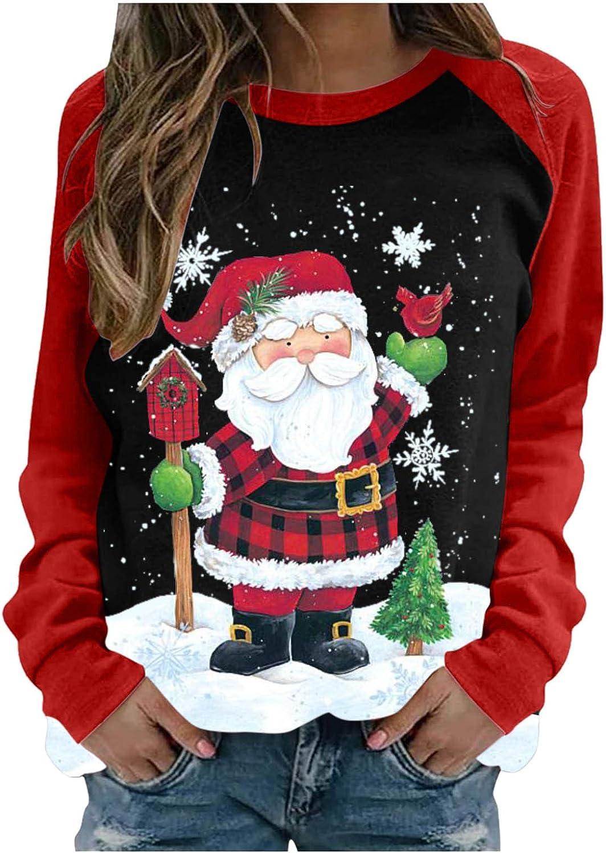 Sweatshirts for Women,Women Casual Christmas Printing Raglan Long Sleeve Pullover O-Neck Shirts Blouse Tops