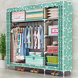 Armoire pliante en toile en tissu, armoire de rangement simple double en toile Installation pratique Économisez de l'espac...