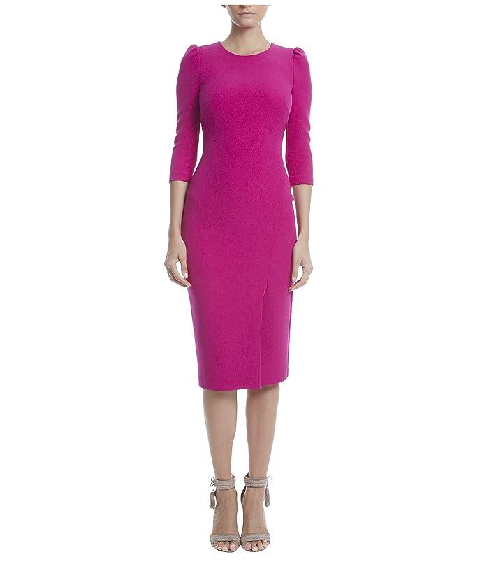 Badgley Mischka  Long Sleeve Crepe Dress (Hot Fuchsia) Womens Clothing