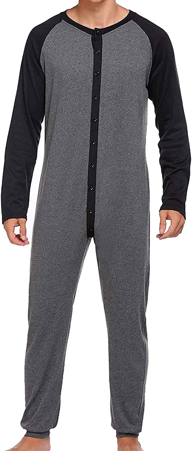 AXYRXWR Mens Onesie Pajamas Cotton Long Underwear Union Suit Full Button Down Base Layer Henley Adult Onesies