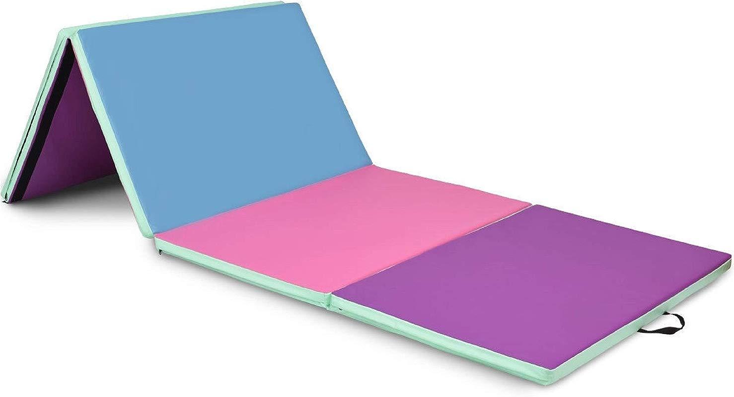 Gym Mat 4 X 8 X 2 Portable Gymnastics Mat Folding Exercise Mat