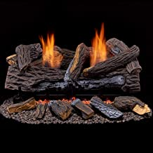 Duluth Forge Vent Free Dual Fuel Set-24 in. Berkshire Stacked Remote Control ventless Gas logs, 24 Inch, Oak