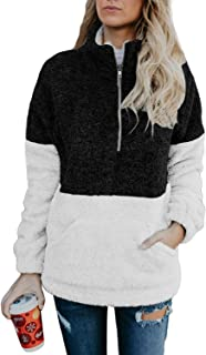 Womens Long Sleeve Zip Sweatshirt Fleece Pullover Outwear...