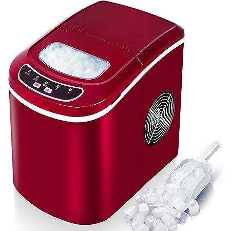 VAZILLIO Machine à Glaçons pour Maison/Office - 9 pcs en 6 Minutes - 15kg en 24 heures - 2 Tailles de Glaçons, Nouvelle Machine à Glaçons Portable avec Pelle & Panier - Rouge