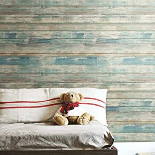 RoomMates Blue Distressed Wood Peel and Stick Wallpaper | Removable Wallpaper | Self..