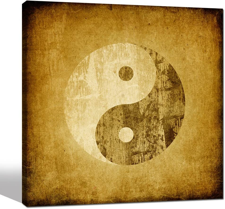 Sea Charm - Vintage Wall Art,Yin Yang Symbol on Grunge Backgroud,Traditional Chinese Culture Art Prints,Framed Canvas Art for Home Wall Decor