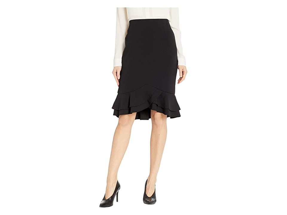 eci Scuba Ruffle Skirt (Black) Women